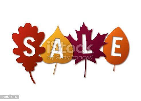 Autumn sale banner with colorful leaves - Illustration