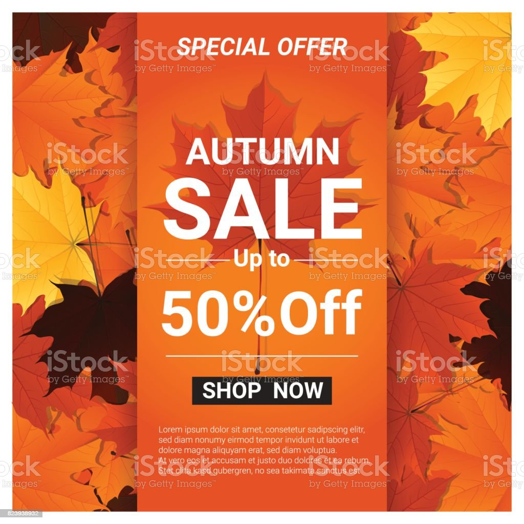 Autumn sale banner with colorful leaves , vector , illustration - illustrazione arte vettoriale