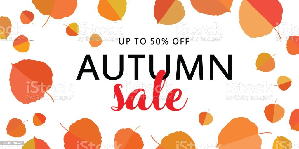 Autumn sale banner with fall leaves on white background. vector art illustration