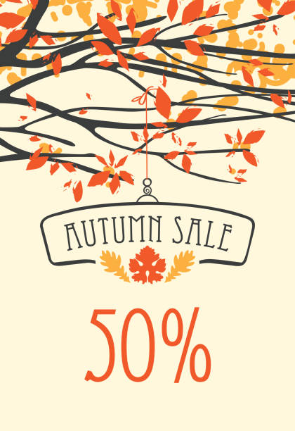 autumn sale banner with inscription and branches - autumn stock illustrations