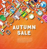 Autumn sale banner with school supplies on orange background