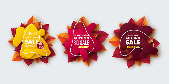Autumn sale banners with leaves.