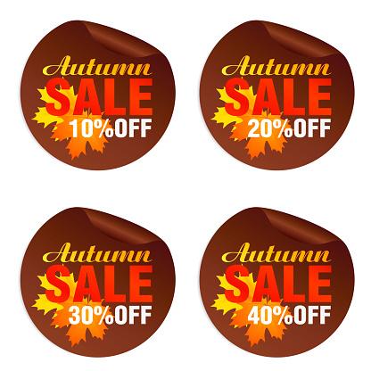 Autumn sale brown stickers set with autumn orange, yellow leaves. Autumn Sale 10%, 20%, 30%, 40% off