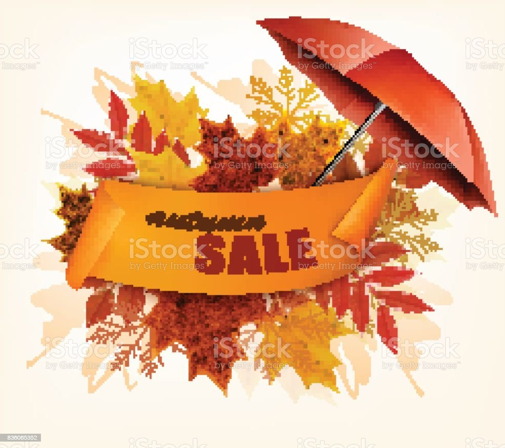Autumn Sale Card With Colorful Leaves And Umbrella. Vector. vector art illustration