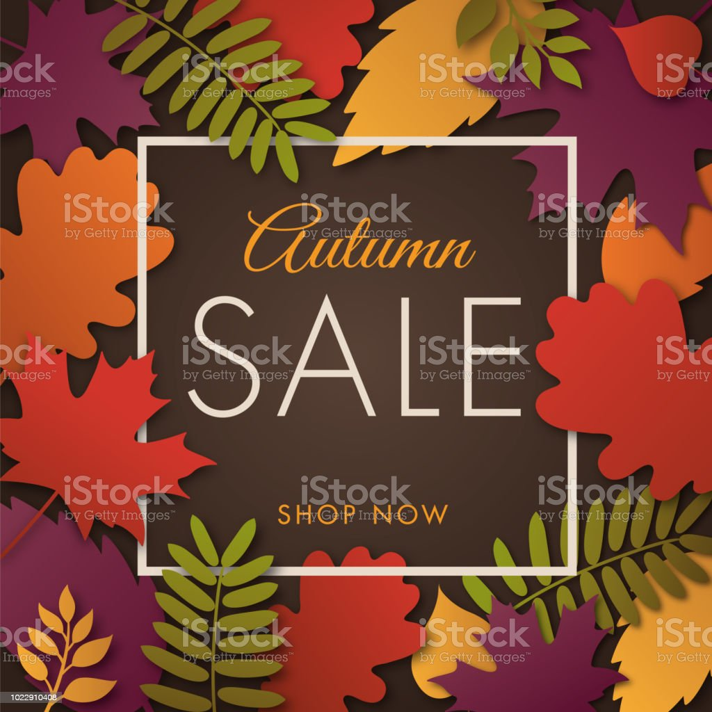autumn sale design for advertising banners leaflets and flyers stock