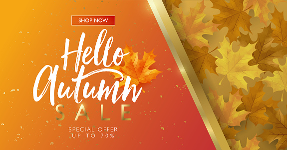 Autumn sale discount marketing design layout. Hello autumn banner concept. Maple golden theme design on orange gradient background. Vector illustration template.
