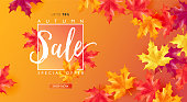Autumn seasonal sale discount marketing banner. Black Friday vector illustration for design use.