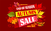Advertising banner about Autumn Sale at the end of season with bright fall leaves. Invitation for shopping with 50 percent off. Trendy style, dark red background. Vector illustration.