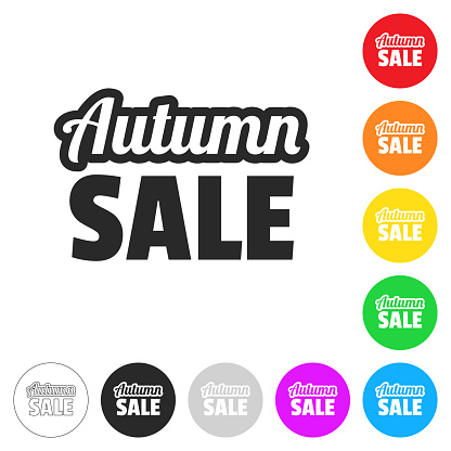 Autumn Sale. Flat icons on buttons in different colors