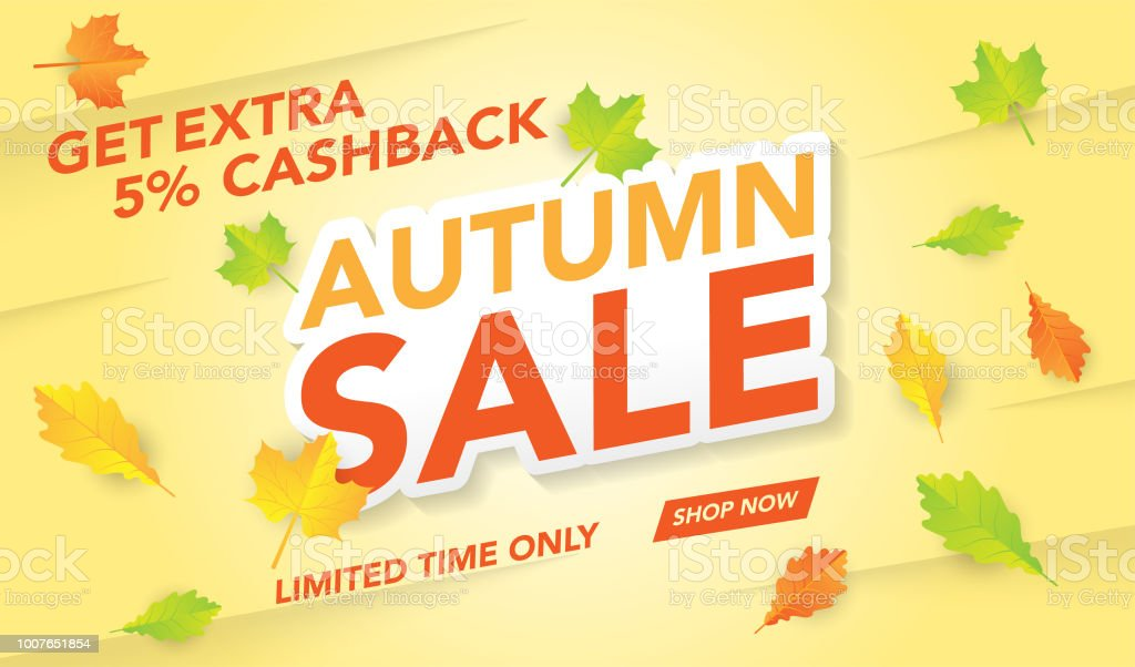 autumn sale flyer template with lettering bright fall leaves poster
