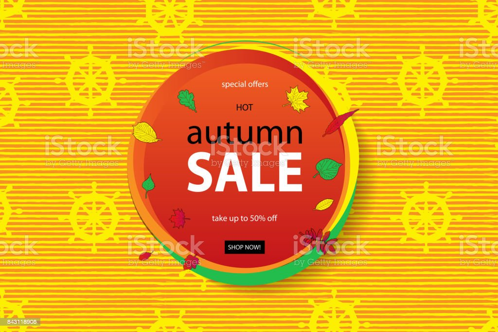 Autumn Sale Flyer Template With Lettering Stock Vector Art More