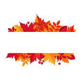 Autumn Sale Horizontal Banner. Vector illustration template