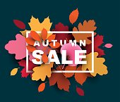 Autumn sale illustration with colorful leaves. Vector