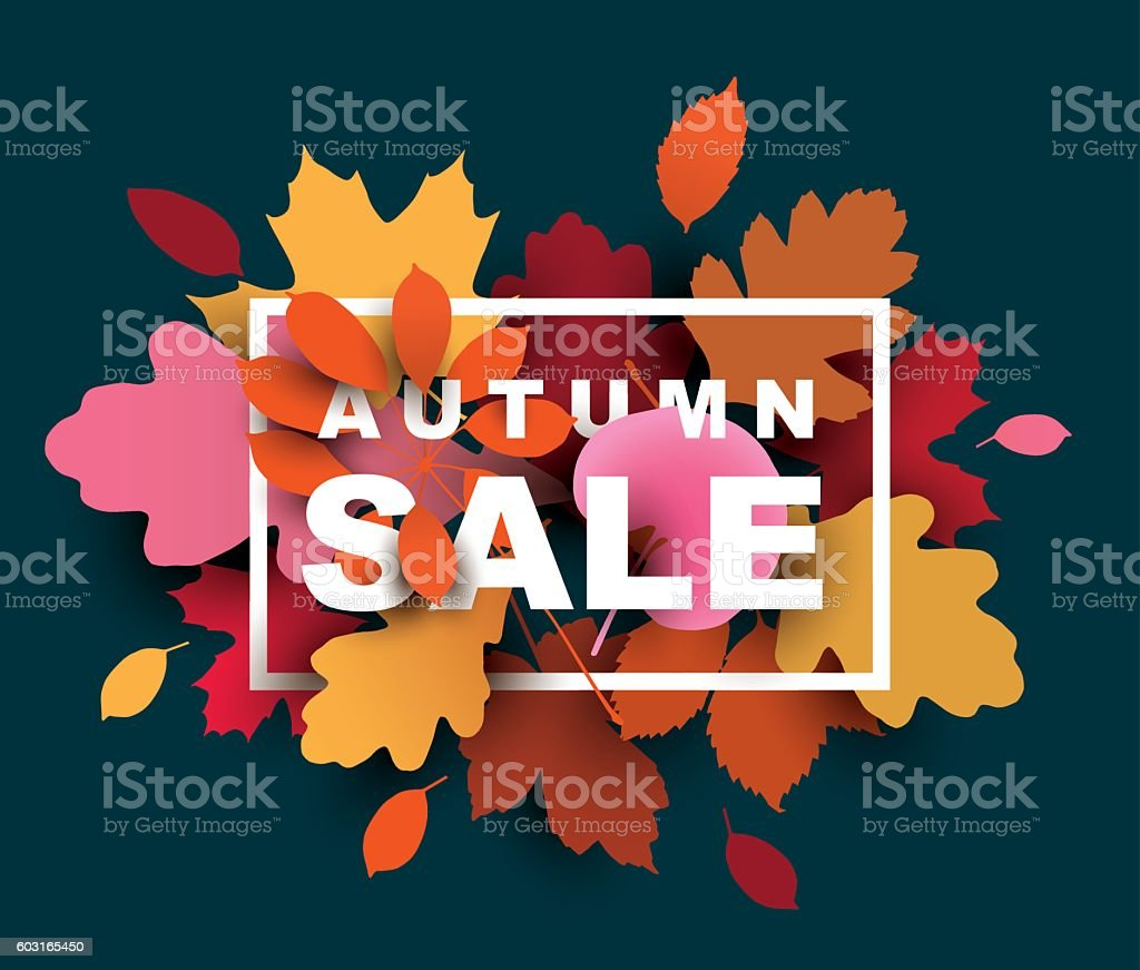 Autumn sale illustration with colorful leaves. - illustrazione arte vettoriale