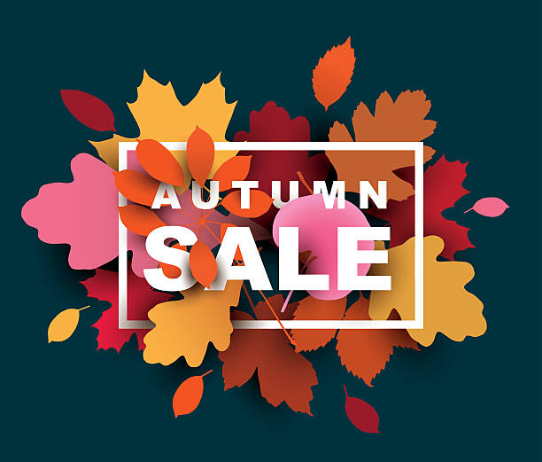 autumn sale illustration with colorful leaves. - herbst stock-grafiken, -clipart, -cartoons und -symbole