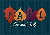 Autumn sale illustration with colorful leaves