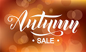 Autumn sale lettering text on brown background with lights decorate for shopping sale or poster, logo, card, banner and frame leaflet or web banner. Vector brush calligraphy illustration template.