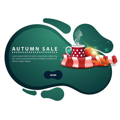 Autumn sale, modern discount banner in the form of smooth lines for your business with mug of hot tea and warm scarf