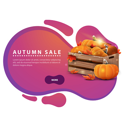 Autumn sale, modern discount banner in the form of smooth lines for your business with wooden crates of ripe pumpkins and autumn eaves