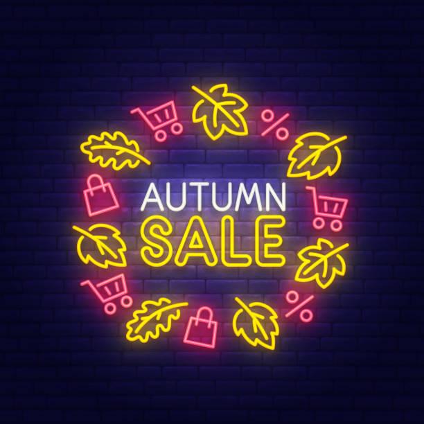 秋季銷售霓虹燈標牌, 明亮的招牌, 輕的旗幟。秋季折扣圖示, 會徽。向量插圖 - bar 幅插畫檔、美工圖案、卡通及圖標