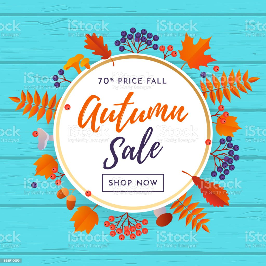 Autumn Sale Poster Discount For September Shopping Promo