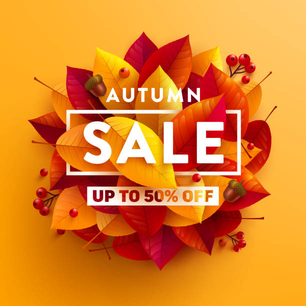 Autumn Sale poster or banner with autumn colorful leaves on yellow background.Greetings and presents for Autumn season.Vector illustration eps 10 Autumn Sale poster or banner with autumn colorful leaves on yellow background.Greetings and presents for Autumn season.Vector illustration eps 10 autumn symbols stock illustrations