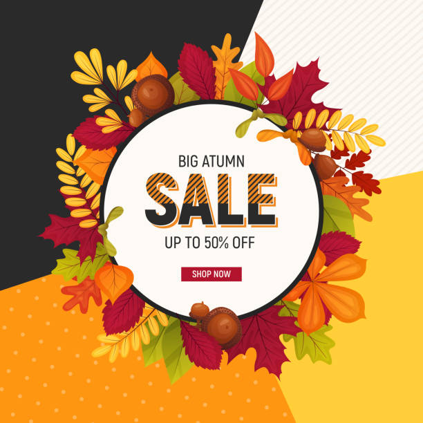 Autumn sale poster Autumn sale poster with cartoon acorns and various leaves. Colorful template for your design card autumn symbols stock illustrations