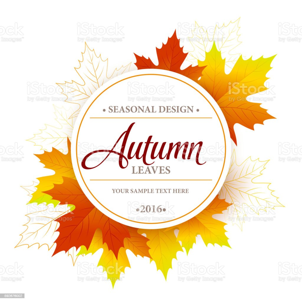 Autumn sale seasonal banner or poster design vector art illustration