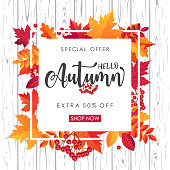 Autumn Sale Background. Shopping offer poster. Vector illustration template - illustration