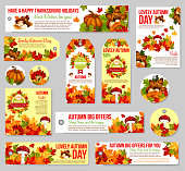 Autumn sale tag and fall discount offer label set
