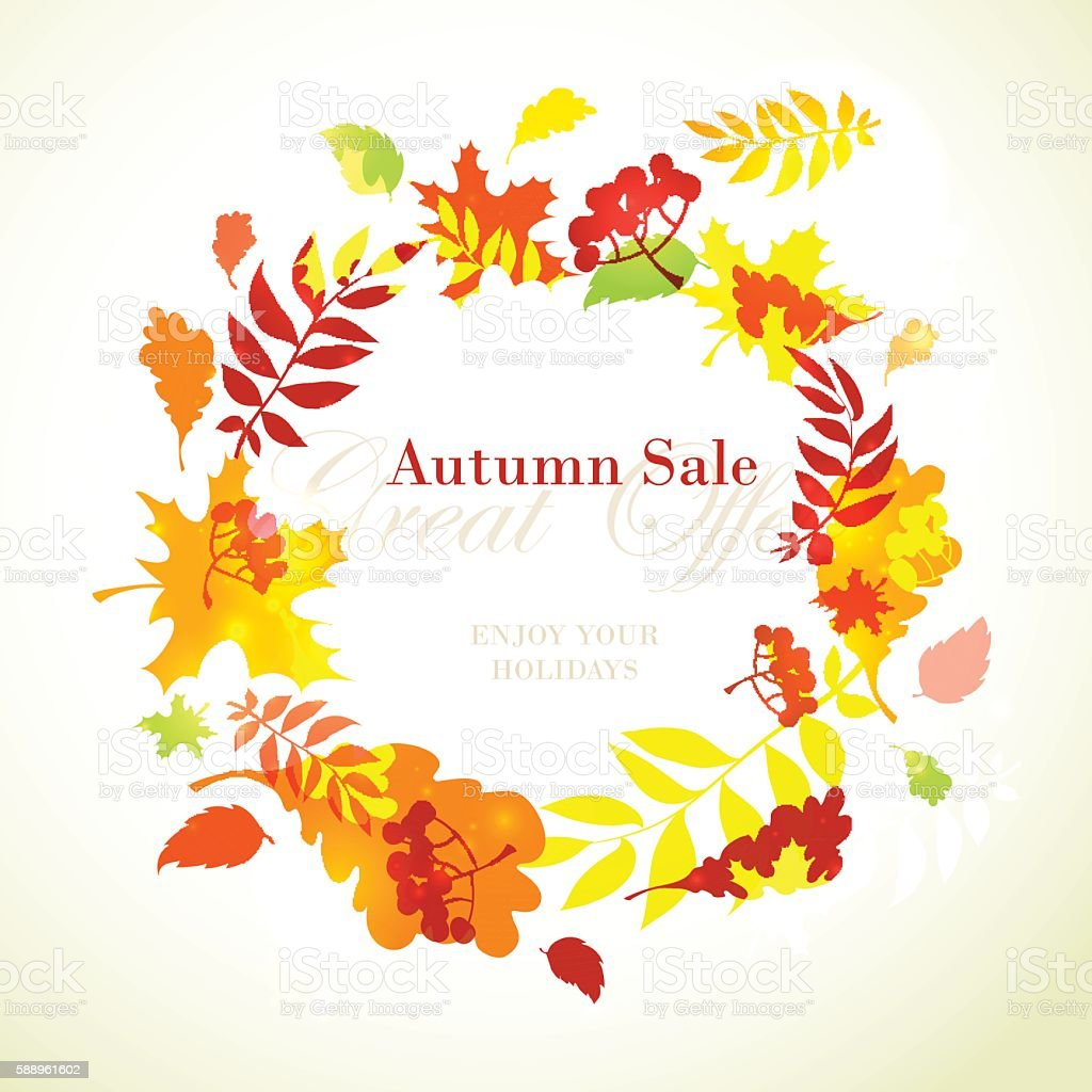 autumn sale template round frame with fall bright leaves まぶしい