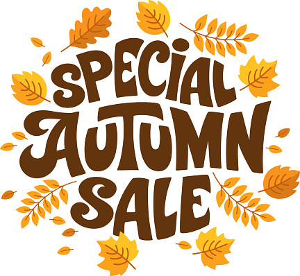 Autumn sale vector background with leaves.