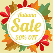 """Autumn sale vector flyer template with lettering """"Autumn Sale 50% OFF""""."""