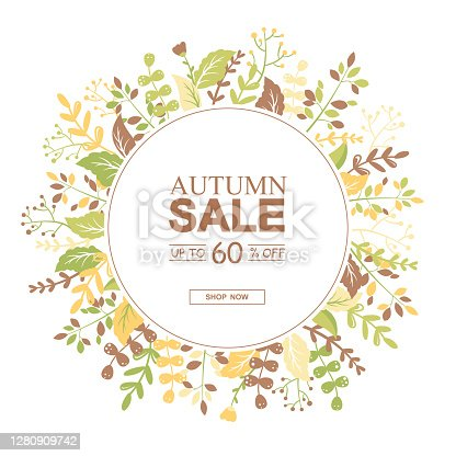 istock Autumn sale vector round banner with colorful leaves, branches and flowers on grey background. Design for advertising, promotion, flyer, invitation,card, website, poster 1280909742