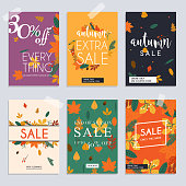 Autumn sale website banners web template collection. Can be used for mobile website banners, web design, posters, email and newsletter designs.