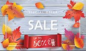Autumn Sale banner. Autumn orange and yellow, red fall leaves frame on grey wood, wooden board background, top view vector, advertising wallpaper, gift card design. Fall, Thanksgiving, Holiday Sales Vector illustration