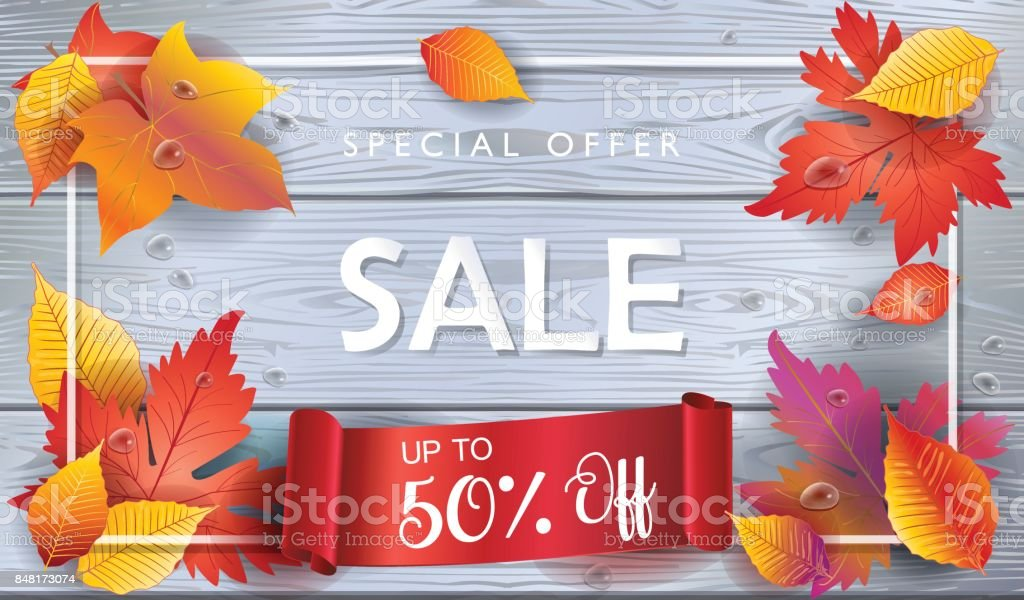 Autumn Sales vector art illustration