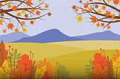 Vector illustration of panoramic view of autumn in the mountain hill garden