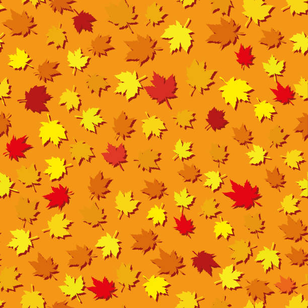 Autumn seamless background with maple leaves vector art illustration