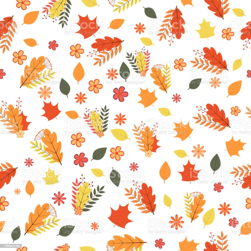 Autumn Seamless Pattern Colorful Leaves Flowers And Berries Isolated Orange Themed Circuit Board Drawing Vector Clipart Illustration On White Fall