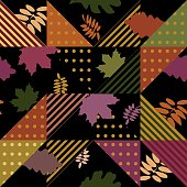 Autumn seamless pattern for trendy fashion isolated on black background.