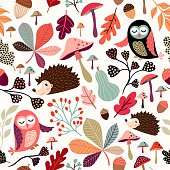 Autumn seamless pattern with decorative seasonal elements, cute animals and plants