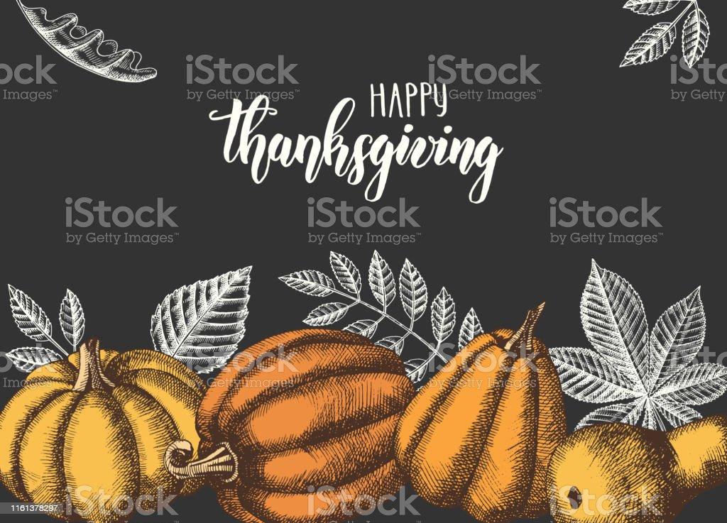 El çizilmiş yaprakları ve balkabakları ile sonbahar Dikişsiz desen. Akçaağaç, huş, kestane, palamut, kül ağacı, meşe yaprakları. Çizim.  Duvar kağıdı, Web sayfası arka planı için - Royalty-free ABD Vector Art