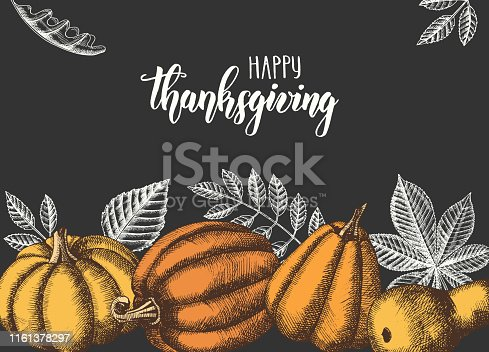 Autumn seamless pattern with  Hand drawn leaves and pumpkins. Leaves of maple, birch, chestnut, acorn, ash tree, oak. Sketch.  For wallpaper, web page background