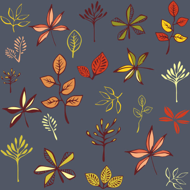 Autumn seamless pattern with leaf, autumn leaf background. Abstract leaf texture. Cute backdrop. Leaf fall. Colorful leaves. Dark background. The elegant the template for fashion prints. Vector vector art illustration