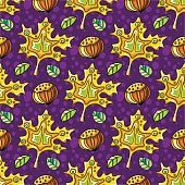 Autumn seamless pattern with leaves and hazelnut. Fall textures series