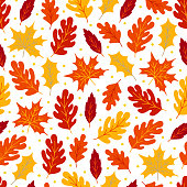 Autumn seamless pattern with maple and oak leaves