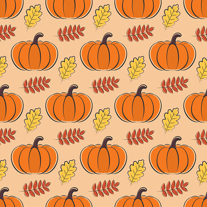 Autumn seamless pattern with pumpkins and leaves
