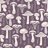 Autumn seamless pattern with white silhouette mushrooms, leaves, fir needles on violet background. Scandinavian style. Perfect for greeting cards, wallpaper, gift paper, seasonal decorations