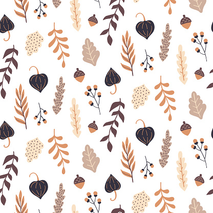 Autumn seamless pattern with wild floral elements. Hand drawn leaves, flowers, herbs, acorns. Vector wallpaper.